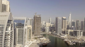 Dubai Marina buildings along artificial canal, aerial view - UAE Stock Photo