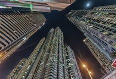 Dubai marina buildings at twilight, UAE Stock Photography