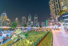 Dubai marina buildings at twilight, UAE Stock Images