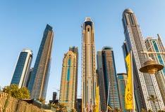 Dubai marina buildings at twilight, UAE Royalty Free Stock Photo