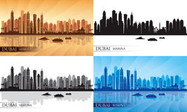 Dubai Marina City skyline silhouettes Set Royalty Free Stock Image