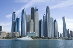 Dubai marina day. Dubai marina taken from sea at day time Stock Photography