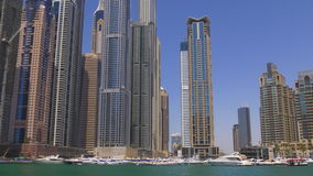 Dubai marina day buildings panorama 4k uae stock video footage