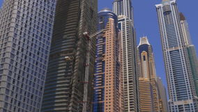 Dubai marina day time buildings panorama 4k uae stock video footage