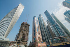 Dubai Marina district on August 9 in UAE Royalty Free Stock Photo