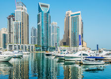 Dubai Marina district on August 9 in UAE Royalty Free Stock Photography
