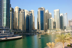 Dubai Marina. Is a district in the heart of what has become known as new Dubai in Dubai, United Arab Emirates Stock Images