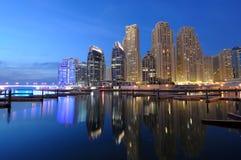 Dubai Marina at dusk Stock Images