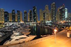 Dubai Marina at dusk Stock Photo