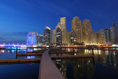 Dubai Marina at dusk Stock Images
