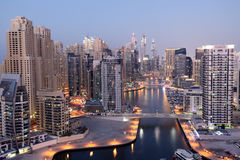 Dubai Marina at dusk Royalty Free Stock Photography