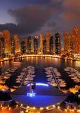 Dubai Marina at Dusk showing numerous skyscrapers of JLT Royalty Free Stock Photos