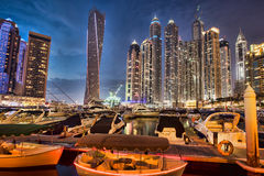Dubai Marina at Dusk in United Arab Emirates Stock Image
