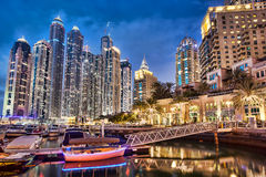 Dubai Marina at Dusk in United Arab Emirates Stock Photography