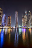 Dubai Marina at Dusk in United Arab Emirates Royalty Free Stock Images