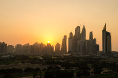 Dubai marina dusty sunset cityscape silhouette Royalty Free Stock Photography