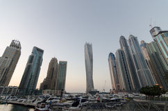 Dubai marina with famous landmark buildings. the twisting tower Stock Photography