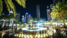 Dubai marina fountain 4k time lapse Royalty Free Stock Photo