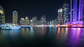 Dubai marina gulf night 4k time lapse Stock Photos