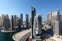 Dubai Marina high angle view Stock Images