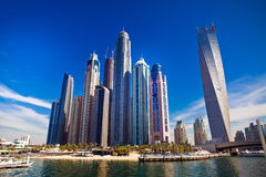 Dubai marina i UAE Arkivbild