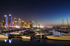 Dubai Marina with JBR, Jumeirah Beach Residences, UAE Stock Photos