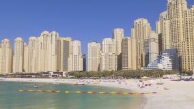 Dubai marina jbr living block sunny day beach panorama 4k uae stock video footage