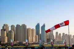 Dubai Marina and Jumeirah epic towers view and architecture from Skydive Dubai stock images