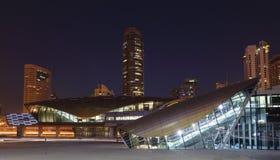 Dubai Marina Metro Station. Illuminated at night royalty free stock photo