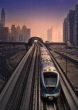 Dubai marina metro. At sunset stock images