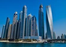 Dubai Marina Modern Architecture. Dubai Marina Skyscrapers of 2016, which are situating in new Dubai futuristic area Royalty Free Stock Images