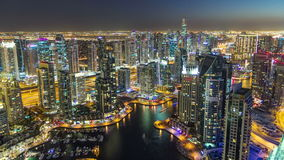 Dubai Marina with modern towers from top of stock footage