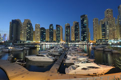 Dubai Marina at night Stock Photo