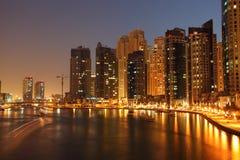 Dubai Marina at night Stock Photography