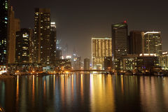 Dubai Marina at night Stock Photos