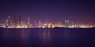 Dubai Marina in the night. Panoramic view from gulf Royalty Free Stock Images