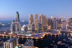 Dubai Marina at night Royalty Free Stock Images