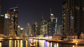 Dubai marina night light 4k time lapse Royalty Free Stock Image