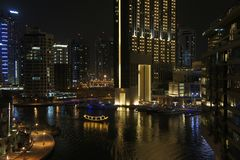 Dubai Marina at night stock photos