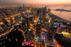 Dubai Marina by night royalty free stock image