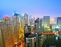 Dubai Marina Night Scene 3. Jumeirah Beach Residence towers and Marina buildings overlooking the Marina royalty free stock images