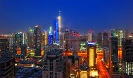 Dubai Marina Night Scene 9. A skyline of buildings in Dubai Marina at night royalty free stock photo