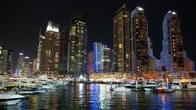 Dubai Marina night time lapse, United Arab Emirates stock video