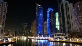 Dubai Marina night time lapse, United Arab Emirates stock footage
