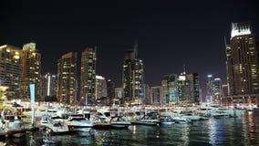 Dubai Marina night time lapse, United Arab Emirates stock video footage
