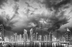 Dubai Marina at night, UAE. Beautiful skyscrapers reflections in Royalty Free Stock Photo