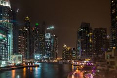 Dubai Marina at night, UAE stock photos