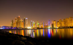 Dubai Marina night, UAE. Royalty Free Stock Photography