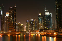 Dubai Marina at night, United Arab Emirates Stock Photography