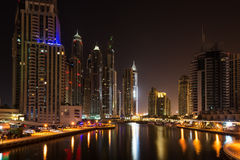 Dubai Marina at night, United Arab Emirates Stock Image